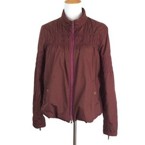 Free People Burgundy Ruched Puffer Jacket S